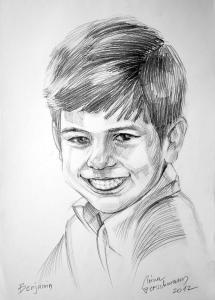 "Portrait ""Benjamin"" Bleistift auf Aquarellkarton 48 x 36 cm Nr. 3042 2012"