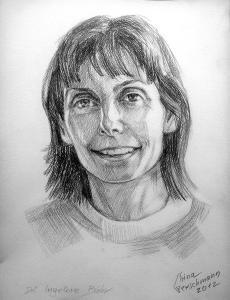 Portrait Frau Dr. Bähr Bleistift auf Aquarellkarton