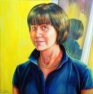 Portrait auf gelben Hintergrund